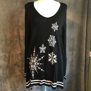 NWT One World Beaded Snowflake Sweater Tunic 1X